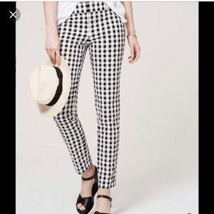 LOFT Julie Straight Black Gingham pant 12